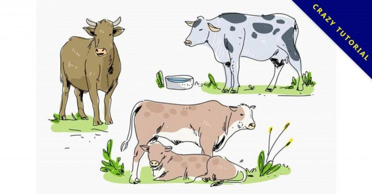 【乳牛卡通图】34套 Illustrator 乳牛图案下载,乳牛 q 版图推荐款